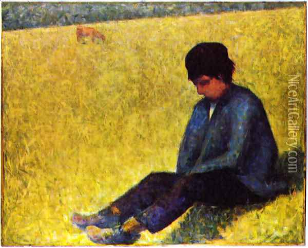 On a meadow sitting boy Oil Painting - Georges Seurat