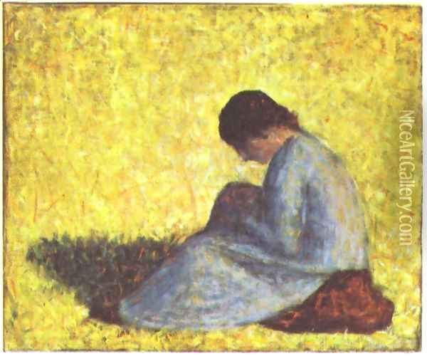 On a meadow sitting farmer girl Oil Painting - Georges Seurat