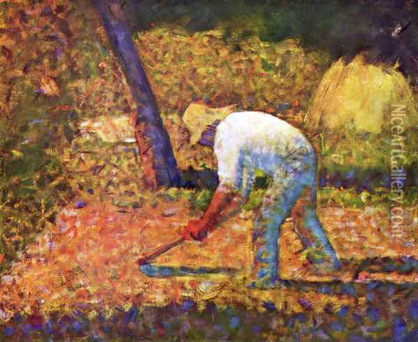 Peasant with a Hoe Oil Painting - Georges Seurat