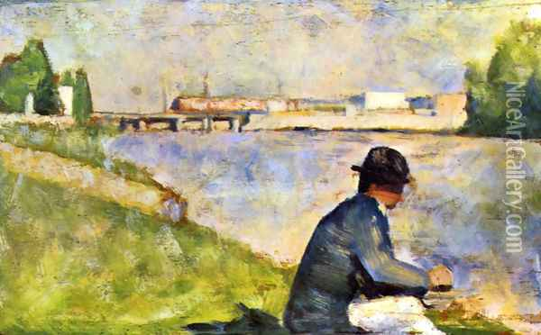 Seated Person. (study for Bathers at Asnieres). Oil Painting - Georges Seurat