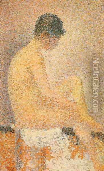 Side seated model Oil Painting - Georges Seurat
