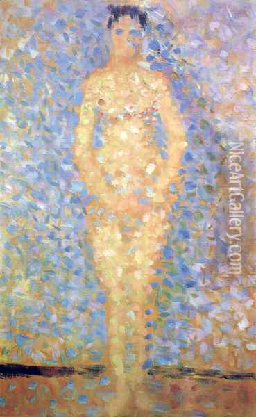 Standing Model (study for Les Poseuses) Oil Painting - Georges Seurat