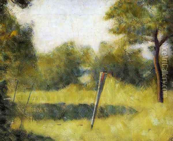 The Clearing (Landscape with a Stake) Oil Painting - Georges Seurat