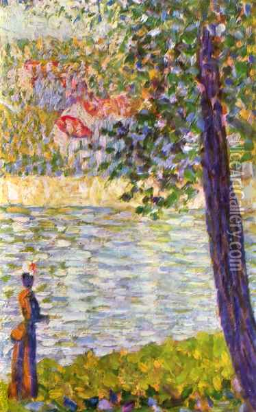 The Seine with Courbevoie Oil Painting - Georges Seurat