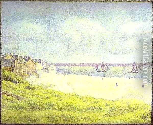 View of Crotoy, the Valley Oil Painting - Georges Seurat