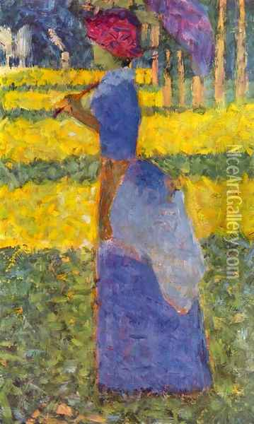 woman with umbrella Oil Painting - Georges Seurat