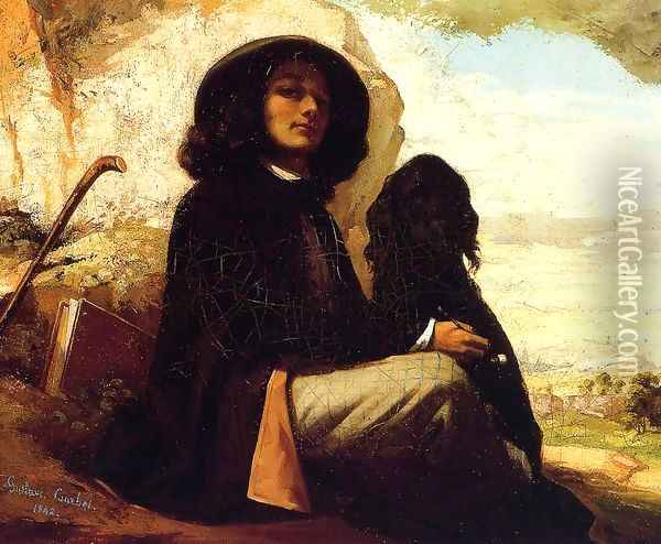 Self Portrait with a Black Dog Oil Painting - Gustave Courbet