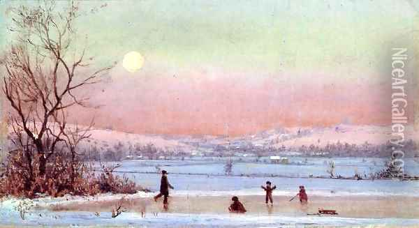 Ice Skating near Hudson Oil Painting - Jervis McEntee