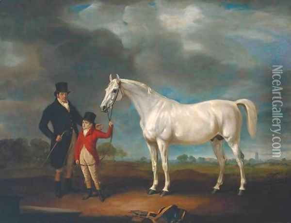 Mr Powell and his Son, with Norton, a Grey Hunter Oil Painting - John Snr Ferneley