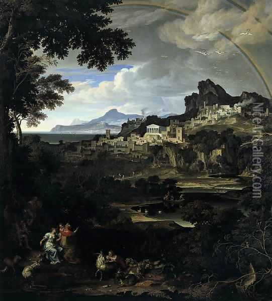 Heroic Landscape with Rainbow Oil Painting - Joseph Anton Koch
