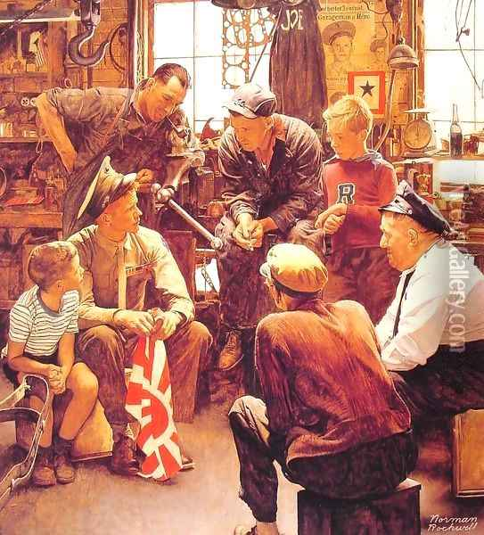 Homecoming Marine Oil Painting - Norman Rockwell