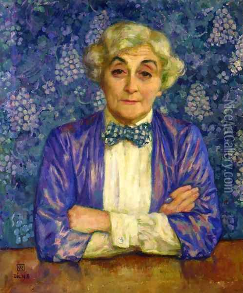 Madame van Rysselberghe in a Chedkered Bow Tie Oil Painting - Theo van Rysselberghe