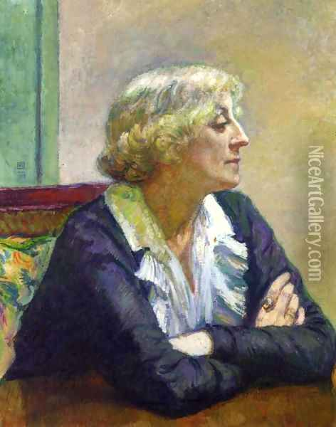 Maria Van Rysselberghe with Crossed Arms Oil Painting - Theo van Rysselberghe