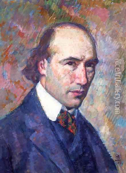 Portrait of Andre Gide Oil Painting - Theo van Rysselberghe