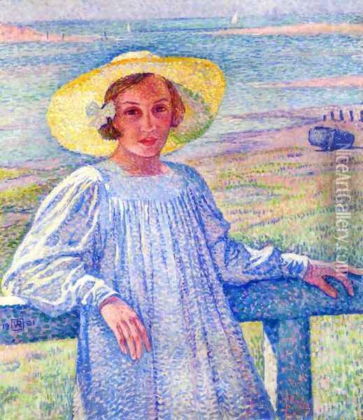 Young Girl in a Straw Hat Oil Painting - Theo van Rysselberghe