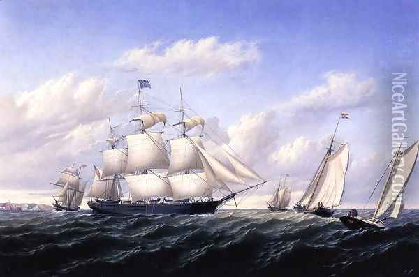 Whaleship 'Speedwell of Fairhaven, Outward Bound off Gay Head Oil Painting - William Bradford