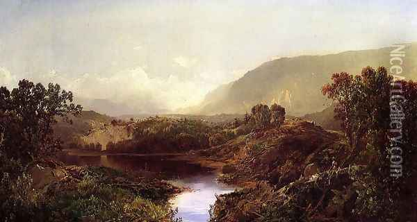 Mountain Landscape, New York State Oil Painting - William Louis Sonntag