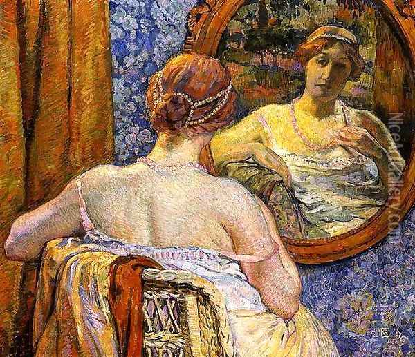 Woman in a Mirror Oil Painting - Theo van Rysselberghe