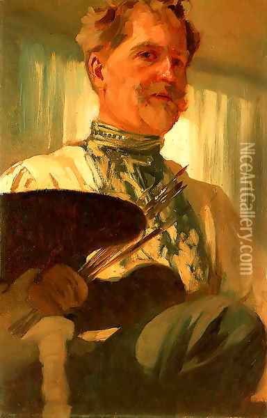 Self Portrait Oil Painting - Alphonse Maria Mucha