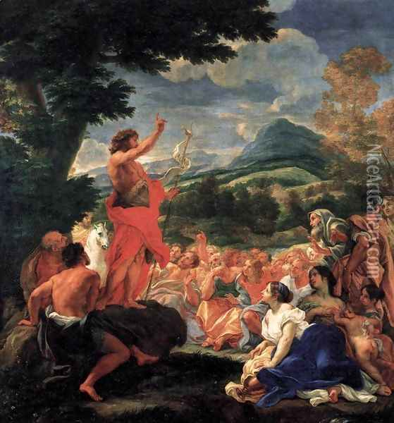 The Preaching of St John the Baptist Oil Painting - Baciccio II