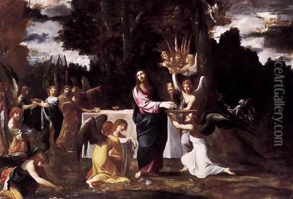 Christ Served by Angels in the Wilderness Oil Painting - Lodovico Carracci