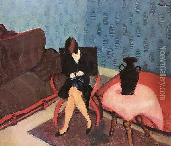 Woman in a Green Room 1927 Oil Painting - Paul Brill