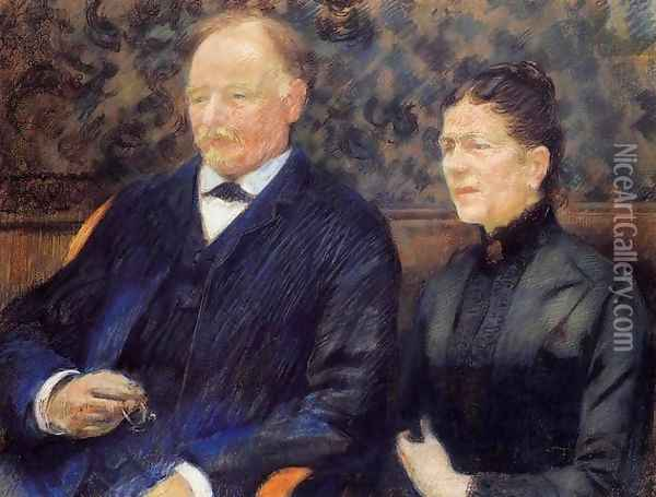 Portrait of Frederic-Gustave Scholobach and His Wife 1892 Oil Painting - Theo van Rysselberghe