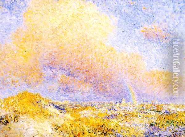 Village under a Rainbow as Seen from the Dunes 1887 Oil Painting - Theo van Rysselberghe