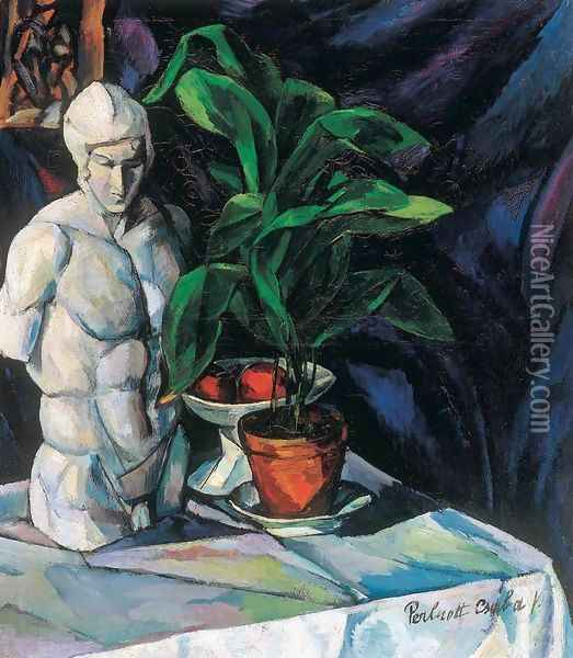 Still life with Sculpture Oil Painting - Tibor Duray