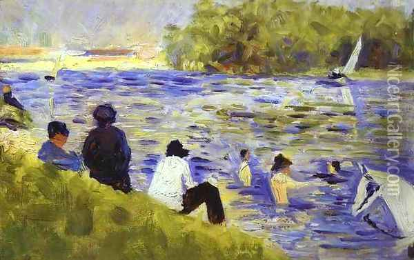 Bathers (Study For Bathers At Asnieres) 1883-84 Oil Painting - Georges Seurat