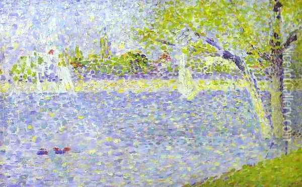 The Siene At La Grande Jatte 1888 Oil Painting - Georges Seurat