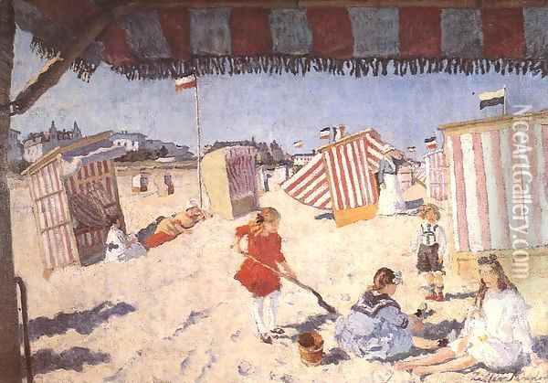 At the Beach 1915 Oil Painting - Robert King