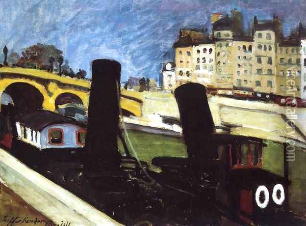 Boats on the Seine 1911 Oil Painting - Robert King
