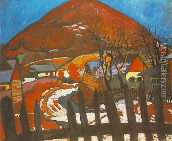 Landscape with Fence beginnig of 1910s Oil Painting - Robert King