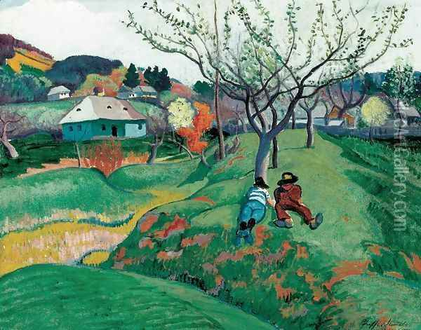 Rest in a Landscape at Nagybanya 1908-10 Oil Painting - Robert King