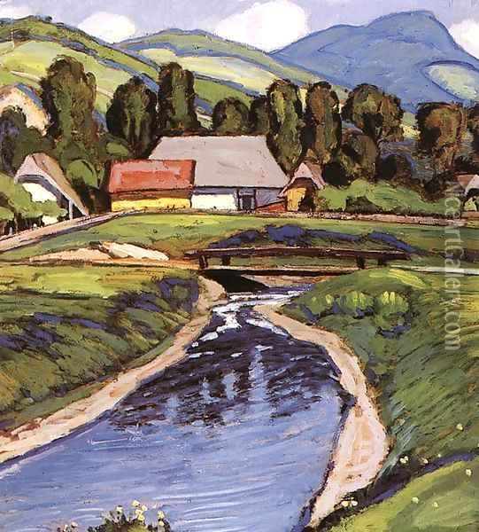 Springtime at the Stream Oil Painting - Robert King