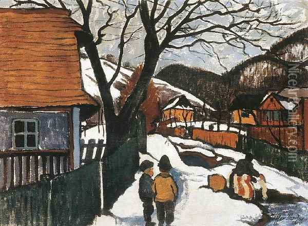 Village at Winter 1910 Oil Painting - Robert King