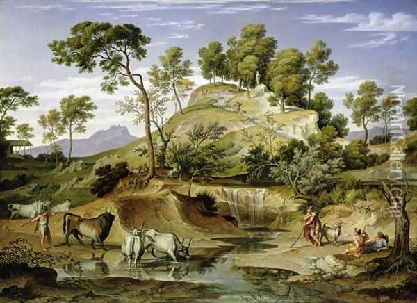 Landscape with Shepherds and Cows and at the Spring 1832 34 Oil Painting - Joseph Anton Koch