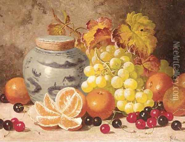 Oranges, cherries, grapes, and a ginger jar Oil Painting - Charles Thomas Bale