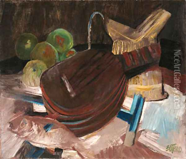 Still Life with Guitar Oil Painting - Fernando Botero