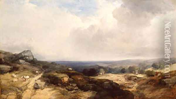 An extensive landscape with sheep in the foreground and cottages and a church in the middle distance Oil Painting - Henry Bright