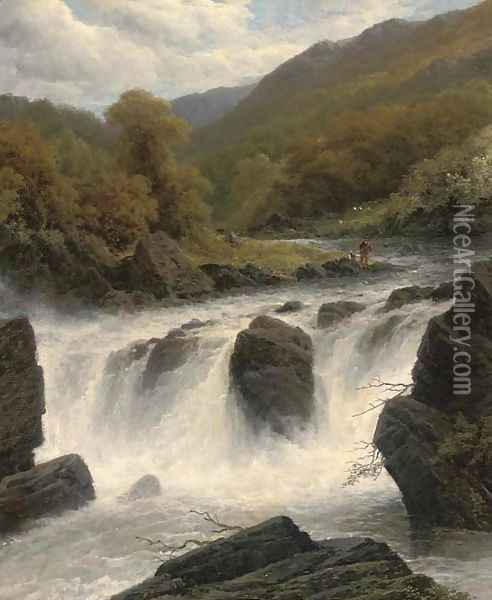 Anglers by a waterfall Oil Painting - James Burrell-Smith