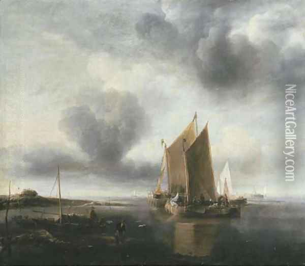 Two smalschips and other shipping off a sandbank in a calm Oil Painting - Jan Van De Capelle