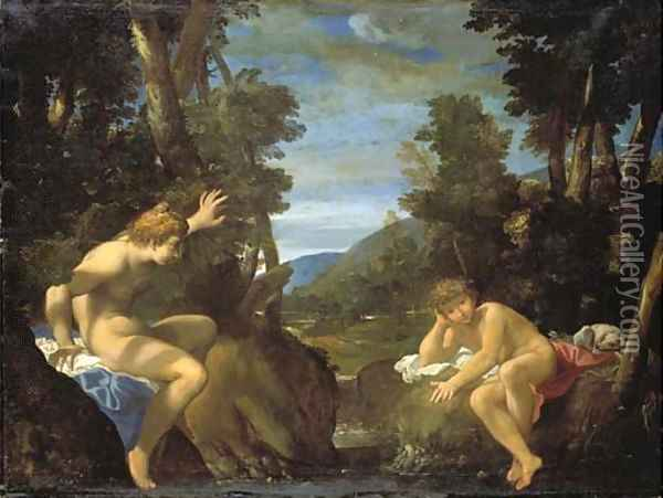 Salmacis and Hermaphroditus Oil Painting - Lodovico Carracci