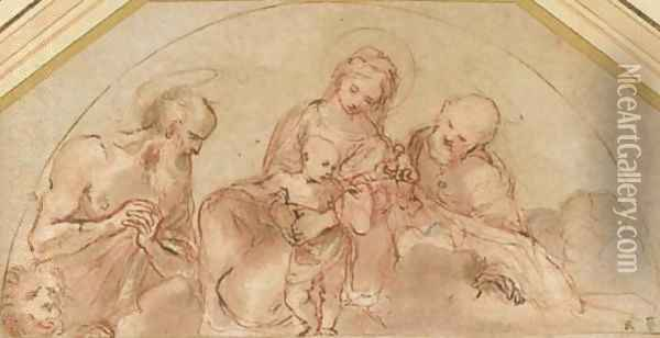 The Holy Family with Saint Jerome study for a lunette Oil Painting - Lodovico Carracci