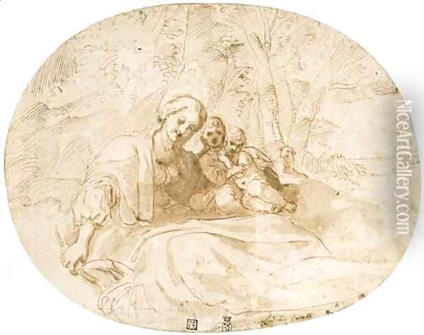 The Virgin and Child with the Infant Baptist in a wooded landscape near the coast Oil Painting - Lodovico Carracci