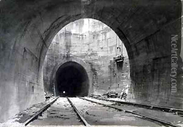 Great ventilating shaft, Kilsby Tunnel, Northamptonshire Oil Painting - John Cooke Bourne
