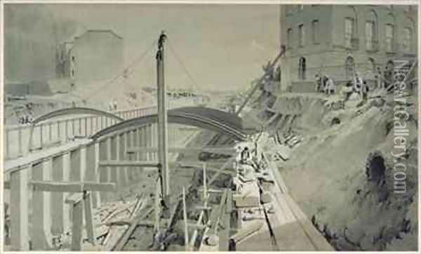 Building the retaining walls at Park Street, Camden Town Oil Painting - John Cooke Bourne