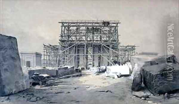 Construction of the Euston Arch Oil Painting - John Cooke Bourne