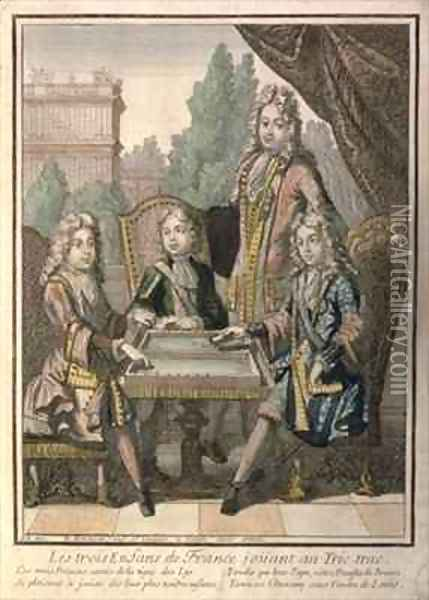 The Grandchildren of Louis XIV (1638-1715) of France Playing Backgammon, Louis the Duke of Burgundy (d.1712) Philip, Duke of Anjou (1683-1746) and Charles, Duke of Berry, with their father, Louis, Dauphin of France (d.1711) Oil Painting - Nicolas Bonnart
